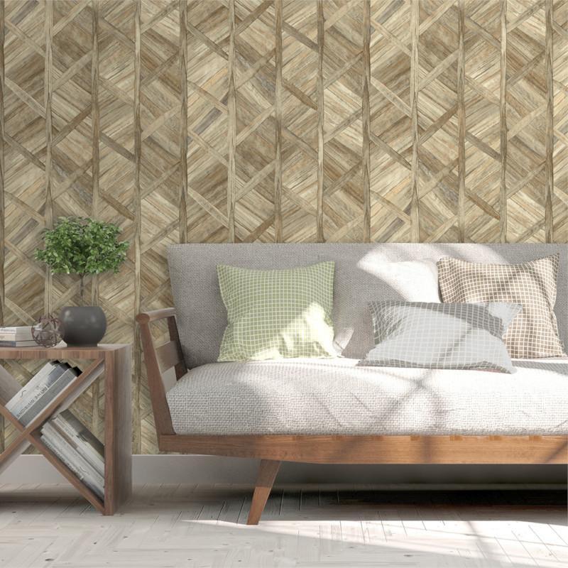 Papier peint Paille Tressée marron beige - ESCAPADE -  Ugepa - L61607