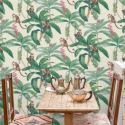 Papier peint Tropical Singes - beige et vert - Myriad GRANDECO Life