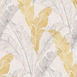Papier peint Feuillage tropical jaune et gris - Myriad GRANDECO Life