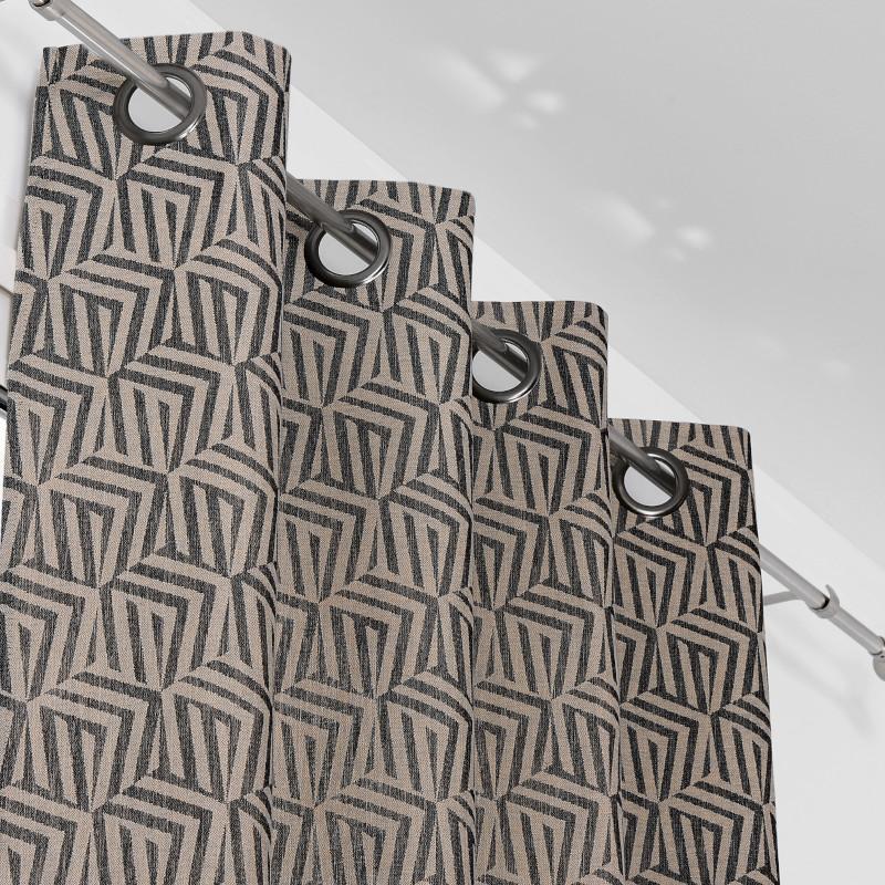 Rideau à œillets Cuzco beige et noir - Linder - 0221-19