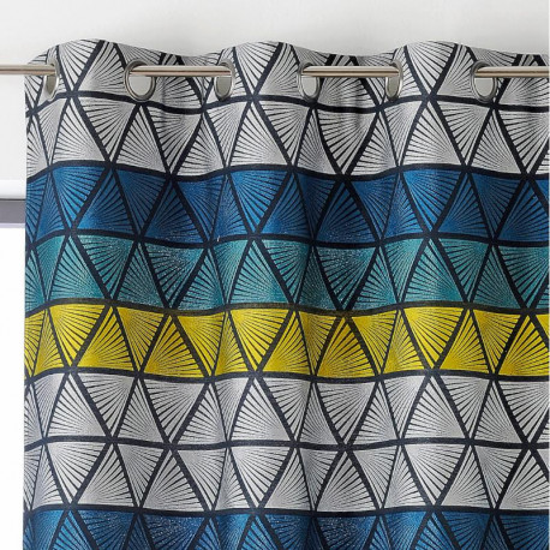 Rideau à œillets Gabin bleu, jaune et gris - Linder - 0991-45