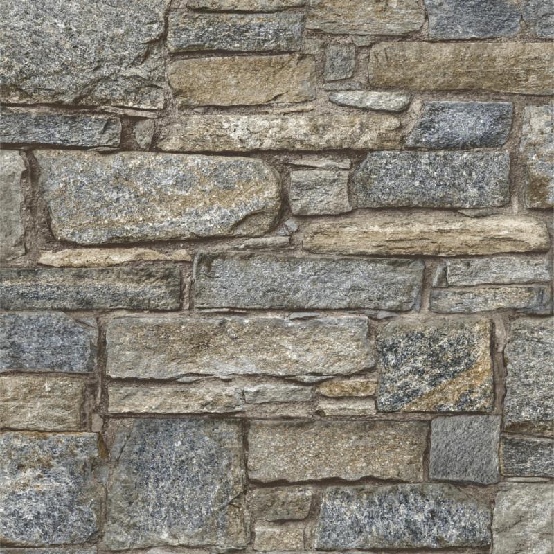 Papier peint Briques Chalet Stone - ORIGINAL - Grandeco - PP3903/A37003