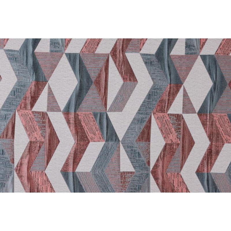 Rideau à œillets à motif géométrique rouge et bleu - Chloé - Linder