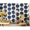 Papier peint intissé motif Cercle bleu/or - IDYLLE - Casadeco