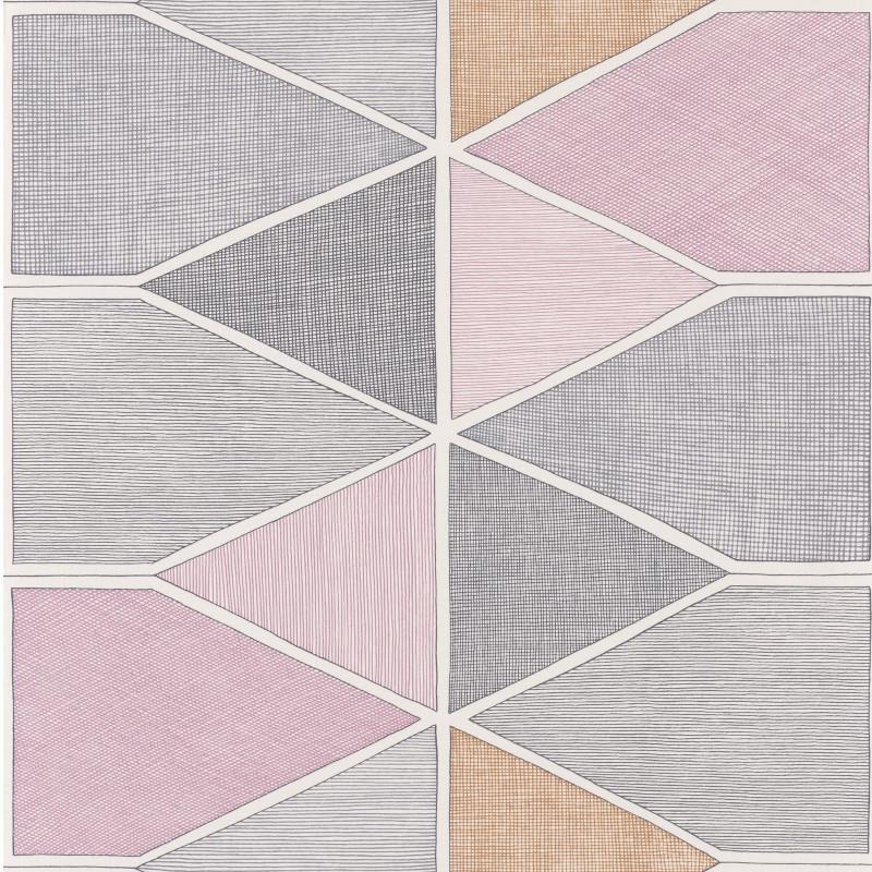Papier peint Stella Color gris et parme - NOVA - Casadeco - NOVA84155208