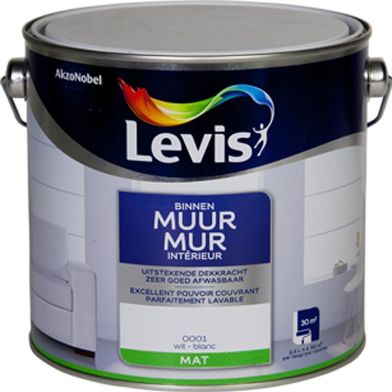 Peinture intérieure spéciale MUR blanc mat - 2,5L - LEVIS
