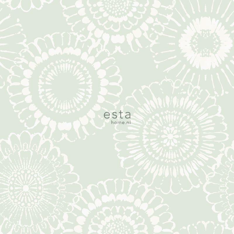 Papier peint Fleurs vert menthe - LITTLE BANDITS - Esta Home - 128861