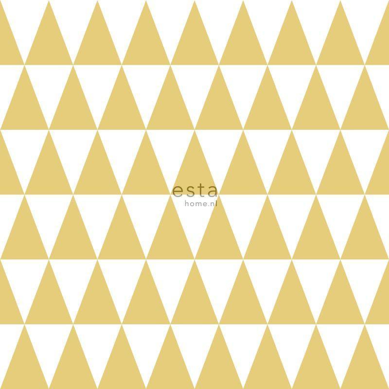Papier peint Triangles géométriques jaune ocre - LITTLE BANDITS - Esta Home - 128863