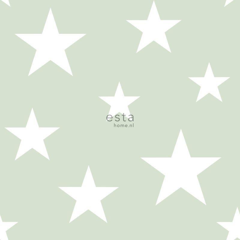 Papier peint Etoiles vert  menthe - LITTLE BANDITS - Esta Home - 128865