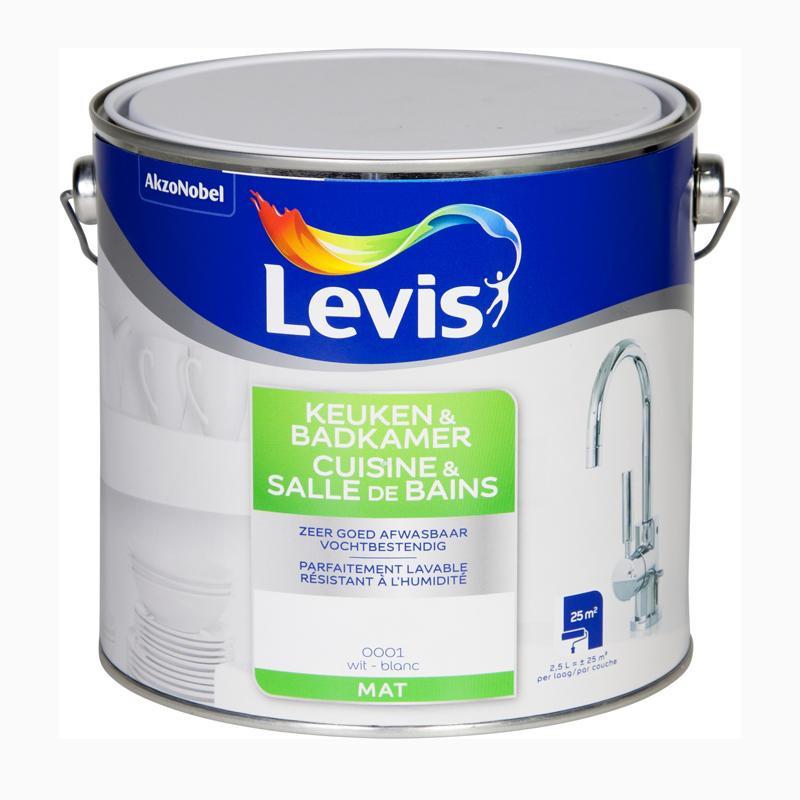 Peinture spéciale cuisine et salle de bain blanc mat - 2,5 L - LEVIS