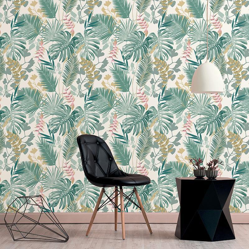 Papier peint Jungle Mix vert foncé et rose - LES ESSENTIELS CONTEMPORAINS - Lutèce  - 51178314A