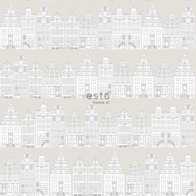 Papier peint Maison d'Amsterdam gris clair - LITTLE BANDITS - Esta Home - 138909