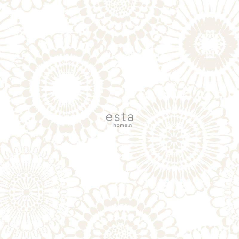 Papier peint Fleurs argent - LITTLE BANDITS - Esta Home - 138910