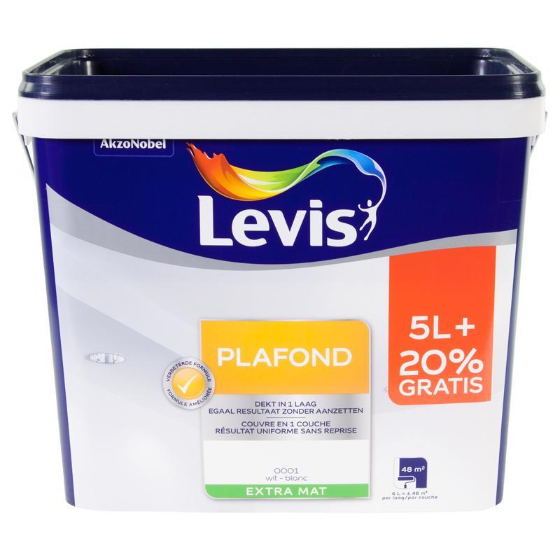Peinture intérieure spéciale plafond blanc extra mat - 6L - LEVIS