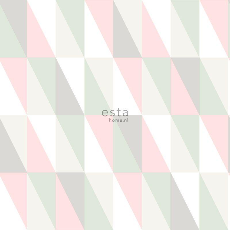 Papier peint Triangles rose clair et vert menthe - LITTLE BANDITS - Esta Home - 138919