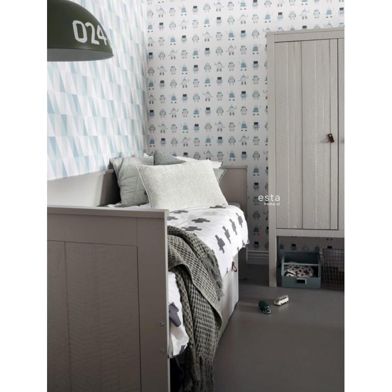 Papier peint Triangles vert menthe et bleu - LITTLE BANDITS - Esta Home - 138920