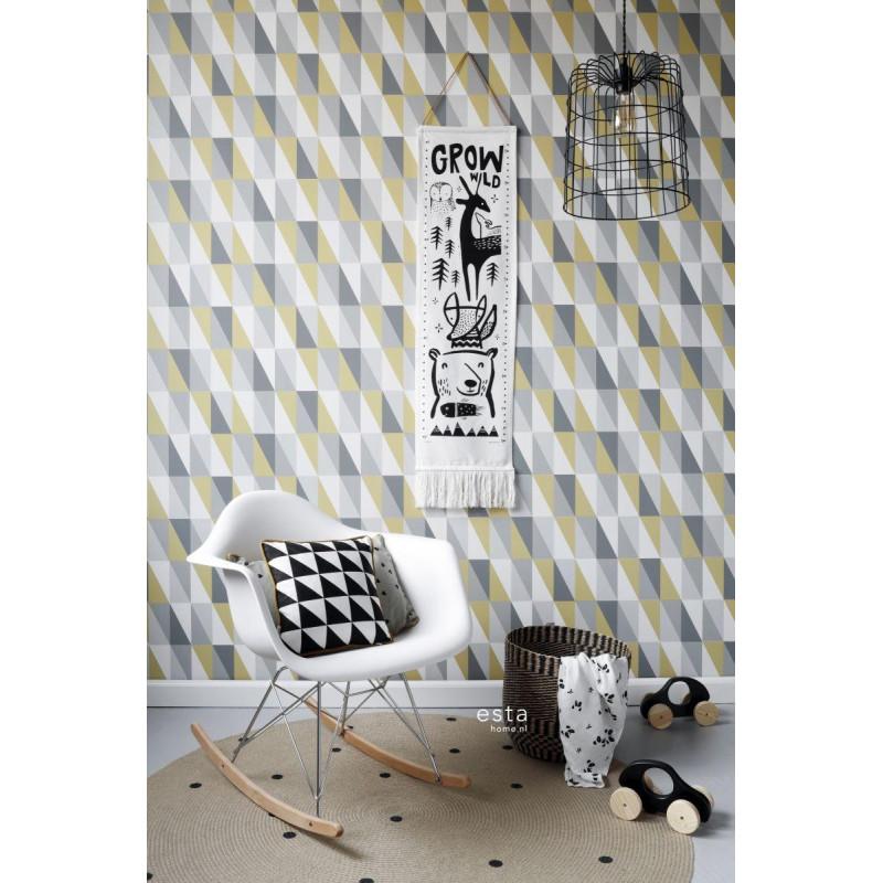 Papier peint Triangles jaune ocre et gris - LITTLE BANDITS - Esta Home - 138921