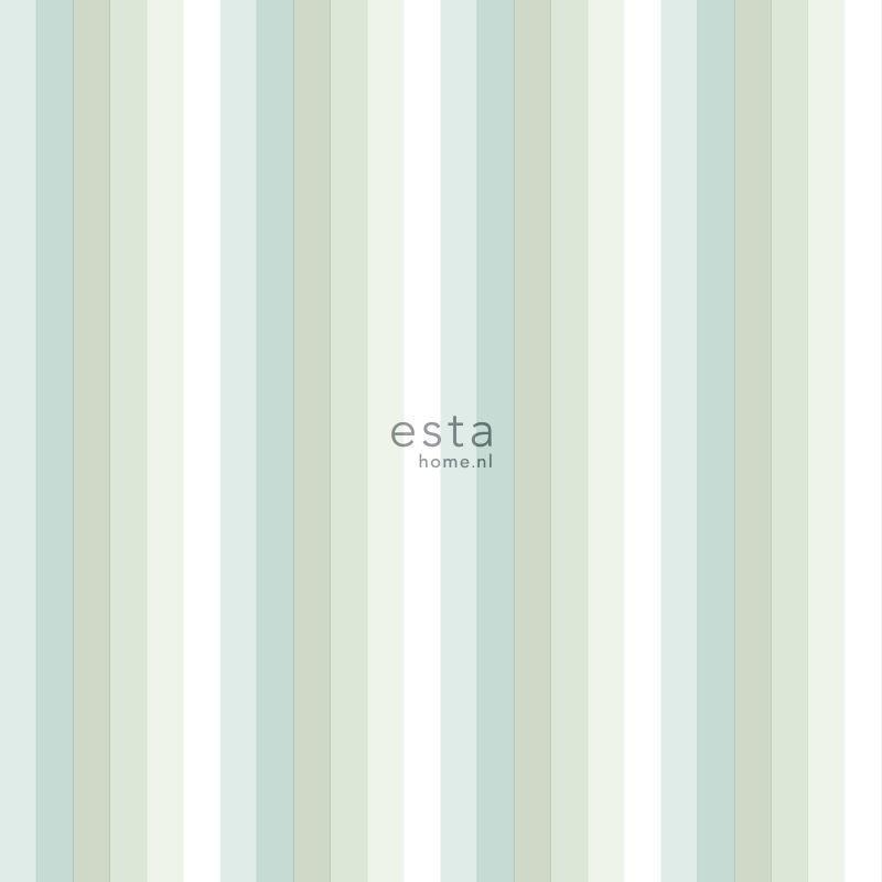 Papier peint Rayures arc-en-ciel vert menthe - LITTLE BANDITS - Esta Home - 138926