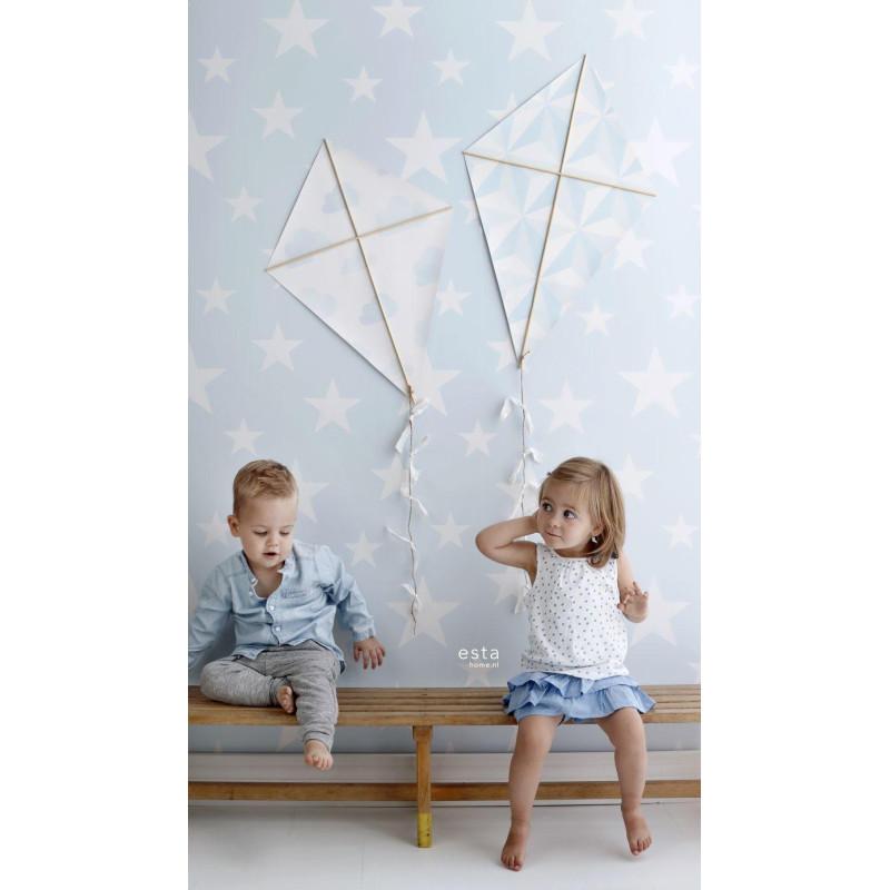 Papier peint Etoiles bleu clair - LITTLE BANDITS - Esta Home - 138932