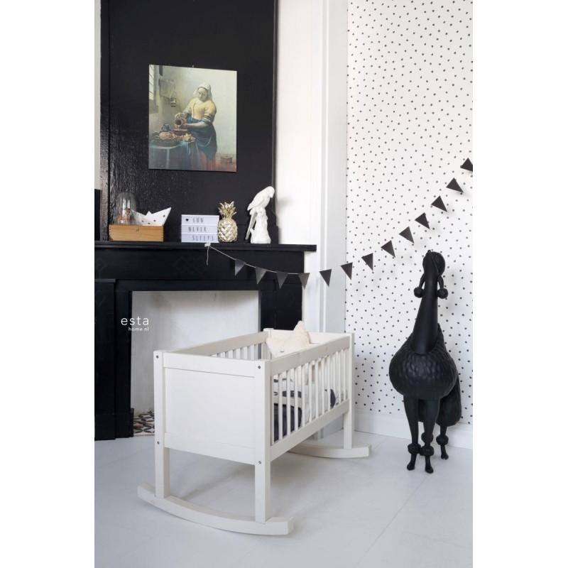 Papier peint Petits Points noir et blanc - LITTLE BANDITS - Esta Home - 138934