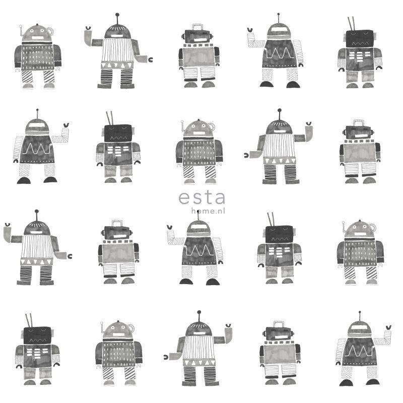 Papier peint Robots noir et blanc - LITTLE BANDITS - Esta Home - 138939