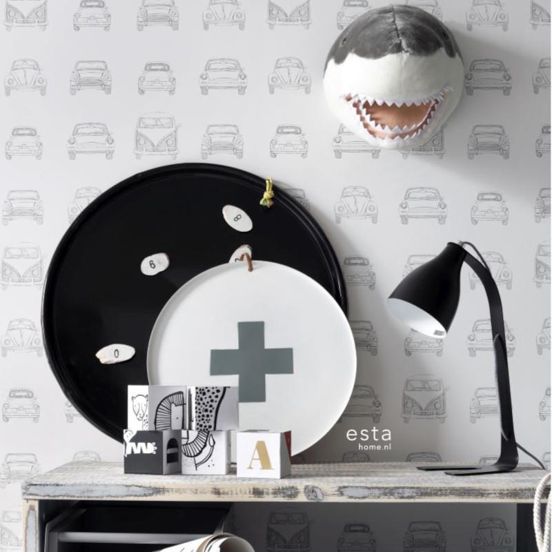 Papier peint Voitures anciennes noir et blanc - LITTLE BANDITS - Esta Home - 138941