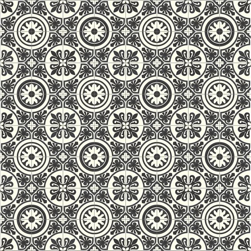 Sol PVC - Lagos 909D carreaux de ciment noir et blanc - Plaza BEAUFLOR - rouleau 4M