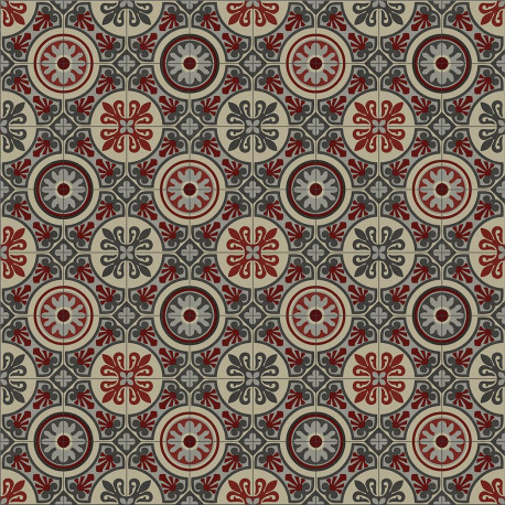 PVC 4M - Lagos 491M carreaux de ciment rouge et gris - Plaza Beauflor