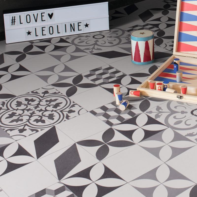 Imitation Carreaux de ciment noir 3 x 7m Sol PVC Lino ...