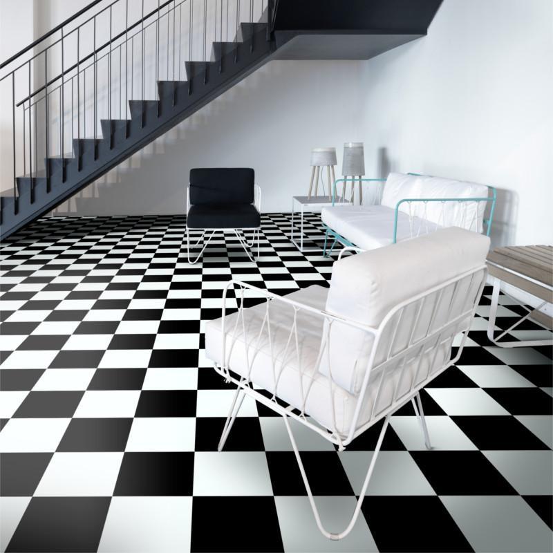 Sol PVC - Modena 901D damier noir et blanc - Inspire BEAUFLOR - rouleau 4M