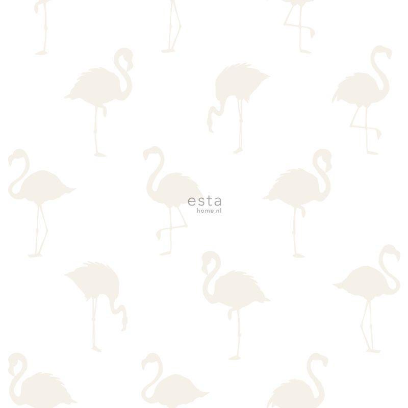 Papier peint Flamants argents et blanc - LITTLE BANDITS - Esta Home - 138917