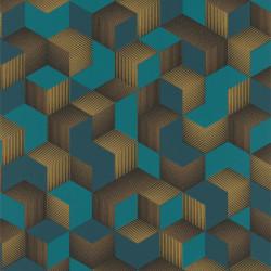 Papier peint intissé DENZO Cubic bleu et doré - Rasch