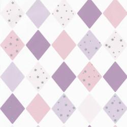 Papier peint intissé shine bright like a diamond mauve - Collection GIRL POWER - CASELIO