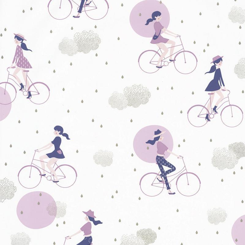 Papier peint Lucy In The Sky mauve - GIRL POWER - Caselio - GPR100845426