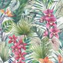 Papier peint Aloha Serena Tropical, vert et rose. Graham & Brown