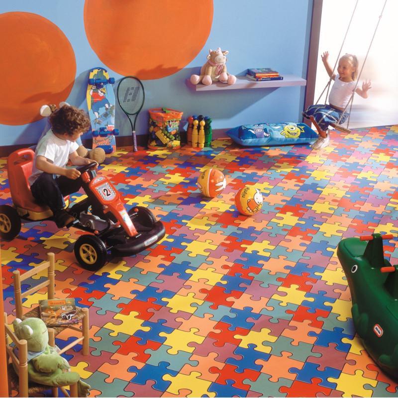 Sol PVC - Puzzle Colour 50 multicolore - Bingo IVC - rouleau 2M