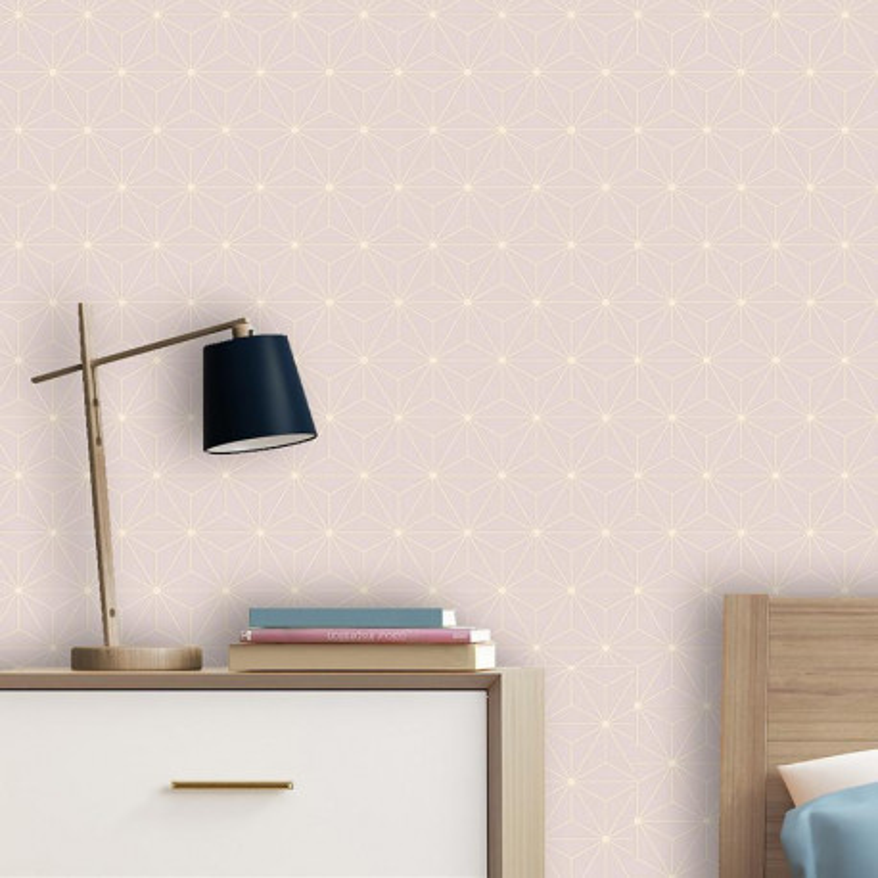 Papier peint Origami rose poudre - Ugepa - L48003