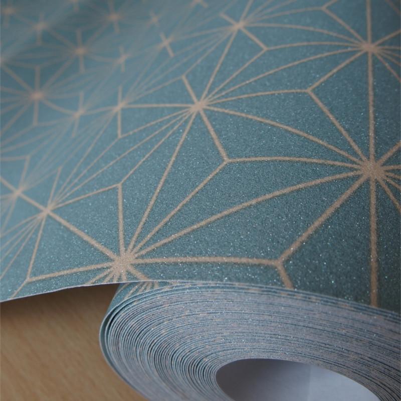 Papier peint pailleté Origami bleu et motif beige - Ugepa