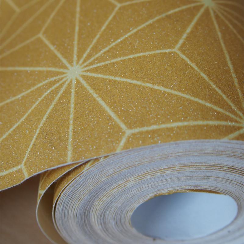 Papier peint Origami jaune moutarde - Ugepa - L48002