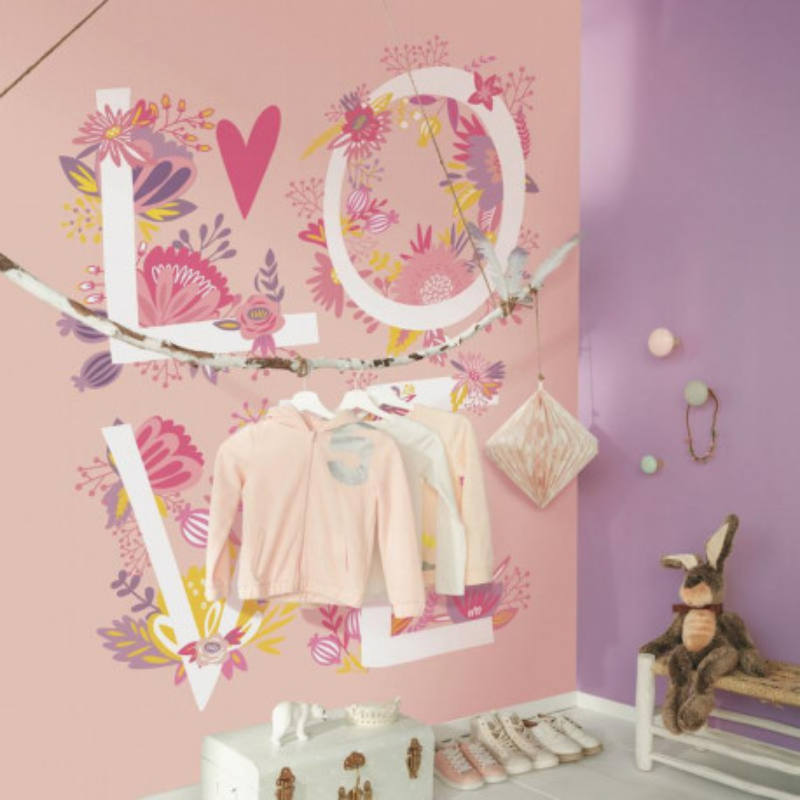 Panoramique Love rose et fleurs - GIRL POWER - Caselio - GPR100994220