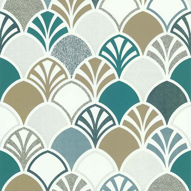Papier peint Arcade vert et argenté - PARK AVENUE - Lutèce - 51193104