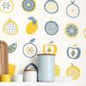 Papier peint intissé pour la cuisine Smoothie à motifs fruits bleu et jaune - Au bistrot d'Alice - Caselio