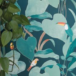 Papier peint Amazonia motif tropical toucan bleu nuit, vert et doré - L'ODYSSEE - Caselio