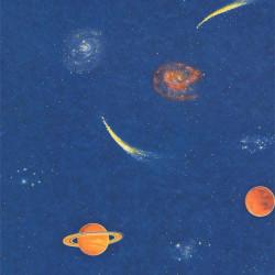 Papier peint SPACE MULTI bleu, motif galaxie - Lutèce