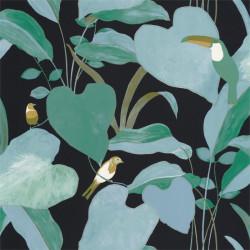 Papier peint Amazonia noir et vert émeraude - L'ODYSSEE - Caselio - OYS101427922