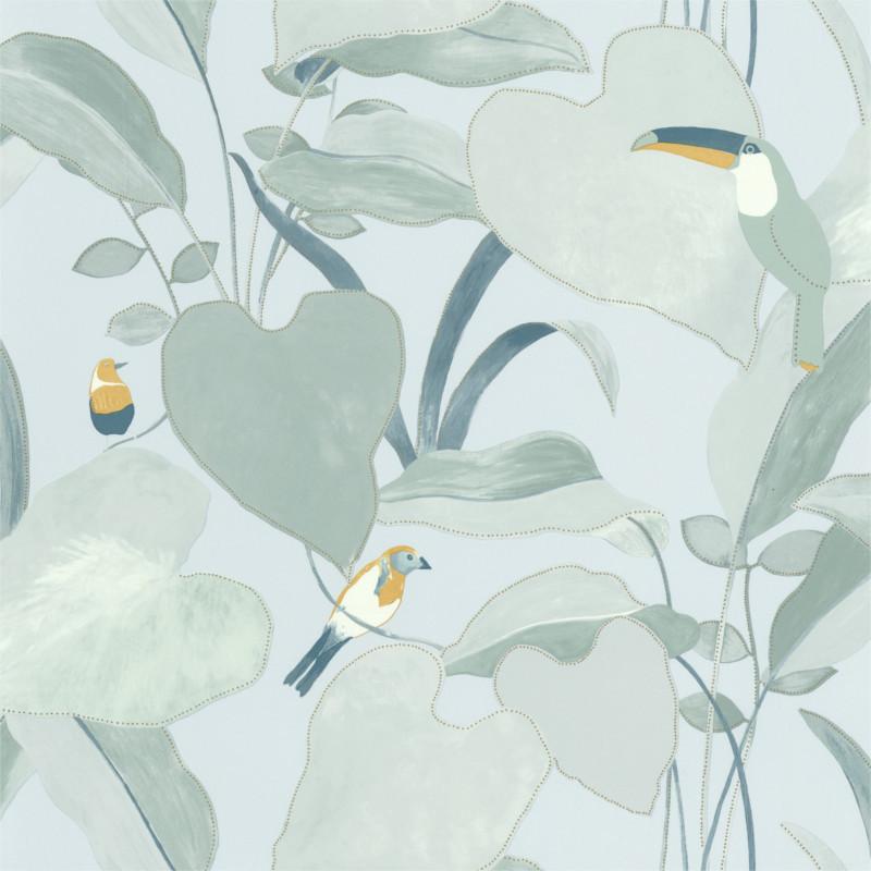 Papier peint Amazonia vert d'eau et jaune doré - L'ODYSSEE - Caselio OYS101427121