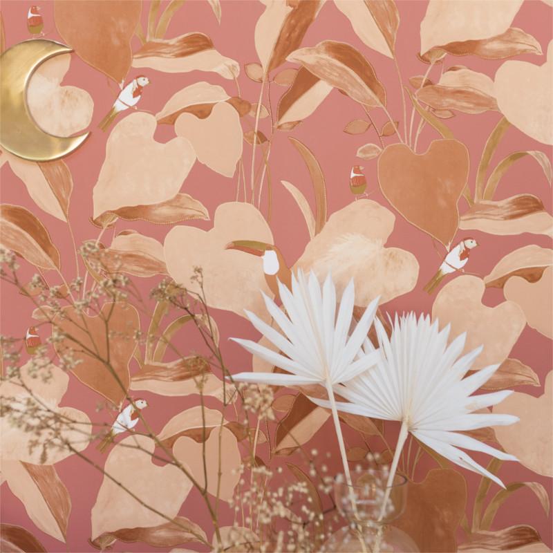 Papier peint Amazonia terracotta et rose - L'ODYSSEE - Caselio - OYS101424421