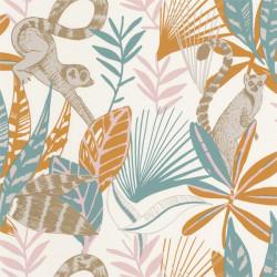 Papier peint Madagascar bleu, ocre et rose - L'ODYSSEE - Caselio - OYS101403211