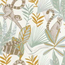 Papier peint Madagascar vert d'eau, jaune et doré - L'ODYSSEE - Caselio - OYS101407218