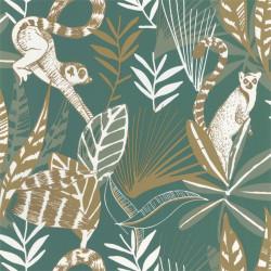 Papier peint Madagascar vert émeraude et doré - L'ODYSSEE - Caselio - OYS101407800
